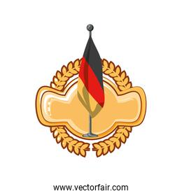 germany country flag in pole golden seal stamp
