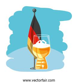 cup of beer with germany flag in pole oktoberfest festival