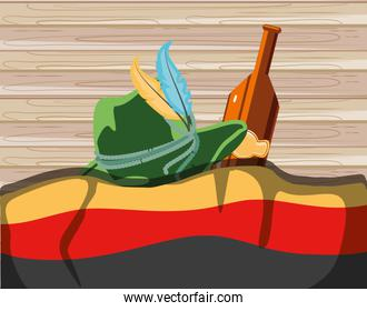 bottle beer and tyrolean hat with flag germany oktoberfest