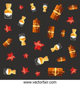 beers and leafs oktoberfest pattern background