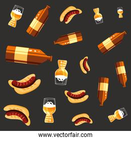 bottles beers and hot dog oktoberfest pattern background