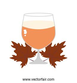 cup of beer and leafs oktoberfest festival