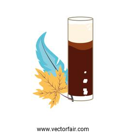 glass of beer with leaf maple oktoberfest
