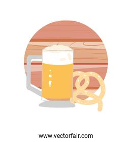 glass of beer and pretzel oktoberfest icon