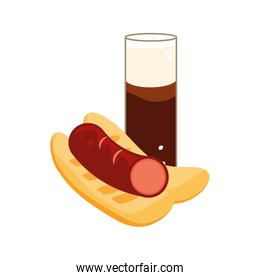 glass of beer with hot dog oktoberfest icon