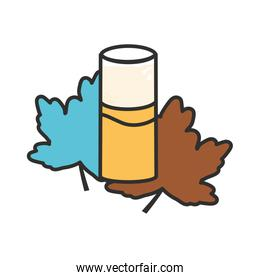 glass of beer with maple leafs oktoberfest icon