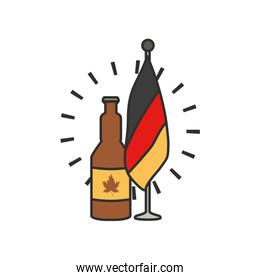 bottle of beer with germany flag in pole oktoberfest festival