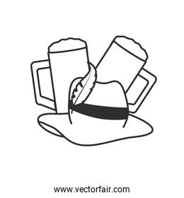glasses of beers and tyrolean hat oktoberfest