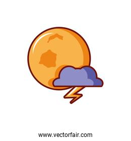full moon with cloud on white background