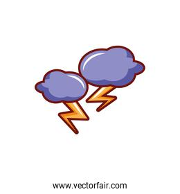 thunder clouds on white background
