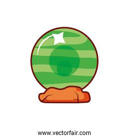 witch crystal ball on white background