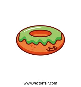 delicious donut with halloween decoration