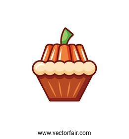 delicious cupcake with halloween decoration