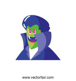 head of vampire with fangs in white background