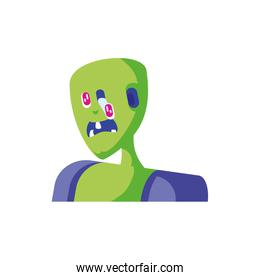 head of zombie in white background