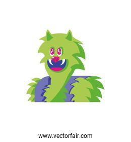 head of man wolf on white background