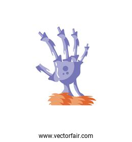 zombie hand in white background