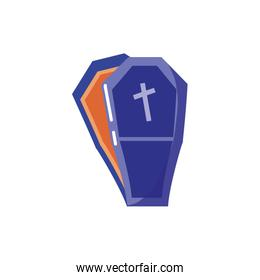coffin with christian cross on white background