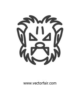 silhouette of head of man wolf on white background
