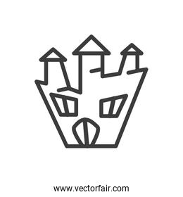 silhouette of halloween horror house on white background