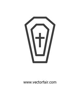 silhouette of coffin with christian cross on white background