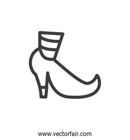 silhouette of funny shoe of leprechaun on white background