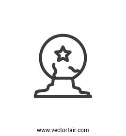 silhouette of witch crystal ball on white background
