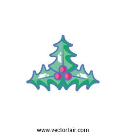 christmas symbol leaf holly, leaves with berries on white background