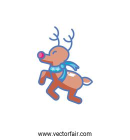 cute reindeer with scarf on white background