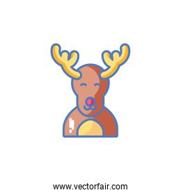 head of reindeer on white background