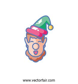 head of young man with christmas hat in white background