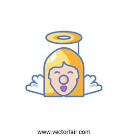 head of cute christmas angel on white background