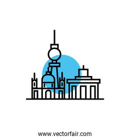 buildings and church cityscape scene line style icon