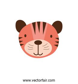 cute tiger wild animal character icon