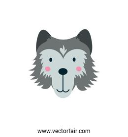 cute wolf wild animal character icon