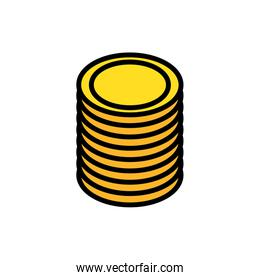 pile coins money dollars icon