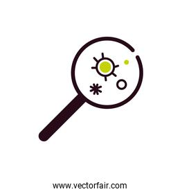 magnifying glass with virus bacteria