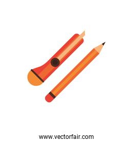 scalpel and pencil supplies isolated icon