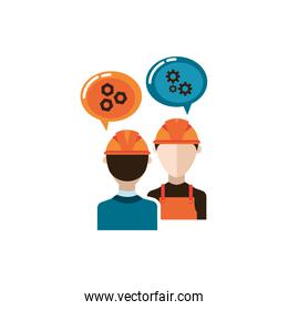 engineer and builder constructors isolated icon