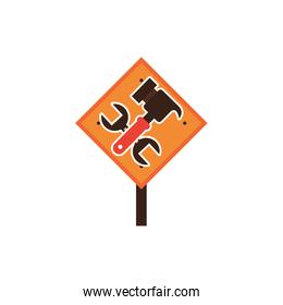 traffic signal with hammer and wrench detailed