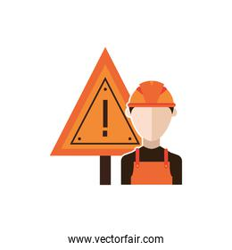 traffic signal caution with builder detailed