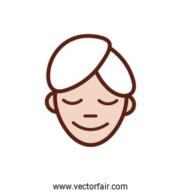 woman with towel in the head line and fill style