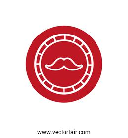 barber shop label with mustache block style