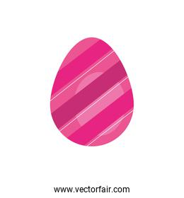 easter egg painted with stripes flat style
