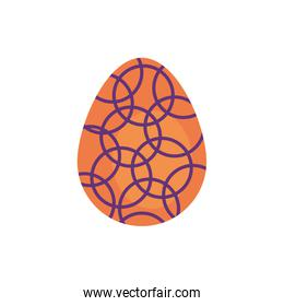 easter egg painted with circle pattern flat style