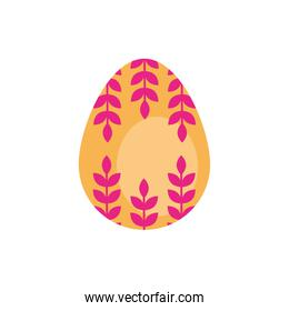 easter egg painted with leafs flat style
