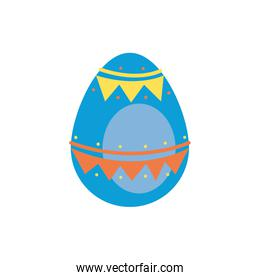easter egg painted with garland flat style