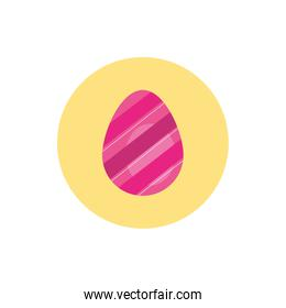 easter egg painted with stripes block style