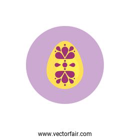 easter egg painted with flowers block style