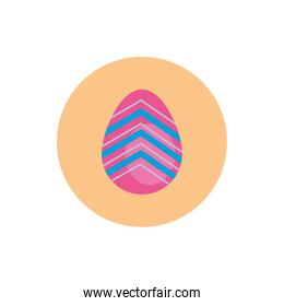easter egg painted with geometric figures block style